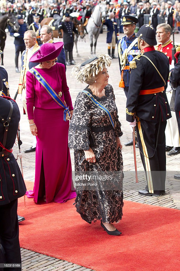 Queen <a gi-track='captionPersonalityLinkClicked' href=/galleries/search?phrase=Beatrix+of+the+Netherlands&family=editorial&specificpeople=92396 ng-click='$event.stopPropagation()'>Beatrix of the Netherlands</a> and Princess Maxima of The Netherlands attend the Budget Day announcement on September 18, 2012 in The Hague, Netherlands.