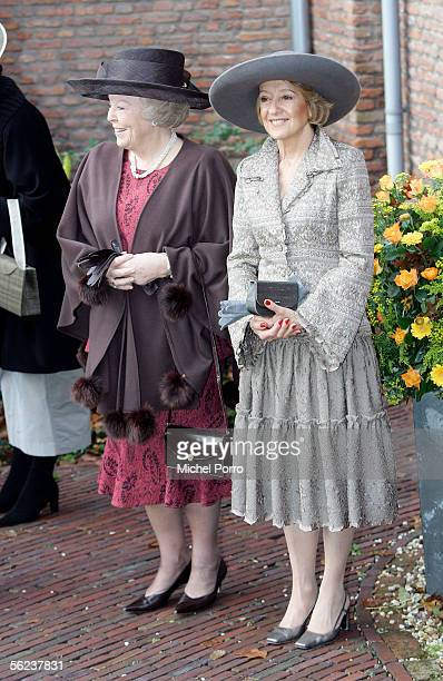 Queen Beatrix of the Netherlands and the mother of Princess Maxima M del Carmen Cerruti de Zorreguieta arrive for the baptism of Dutch Princess...