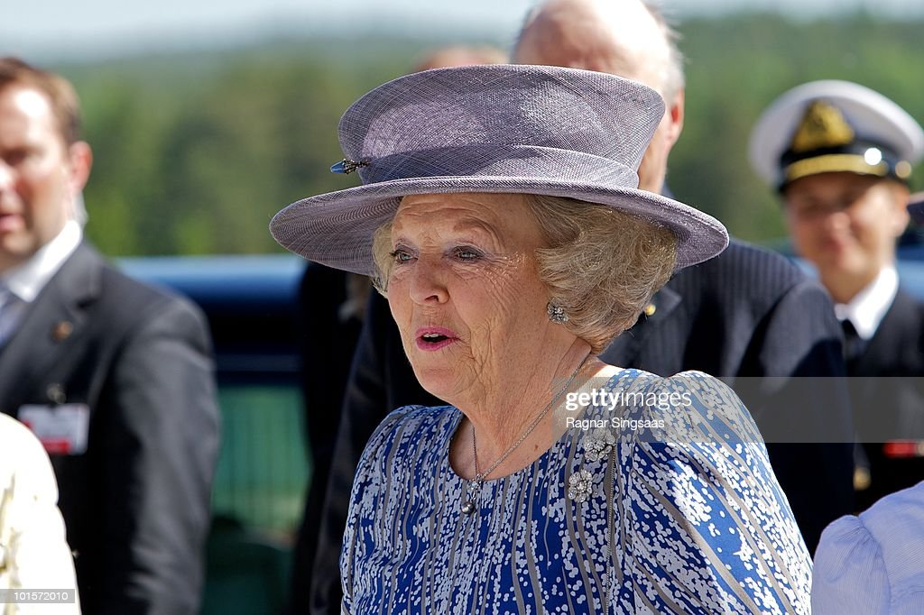 Queen Beatrix of the Netherlands attends a school visit on June 2, 2010 in Oslo, Norway.