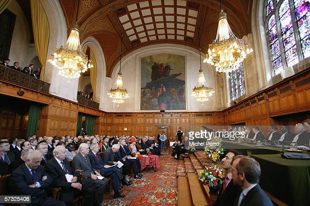 Queen Beatrix of the Netherlands attends celebrations marking the 60th anniversary of the International Court of Justice April 12 2006 in The Hague...