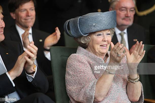 Queen Beatrix of the Netherlands attends the reception of Saxony's Prime Minister Stanislaw Tillich in the state chancellery on April 14 2011 in...