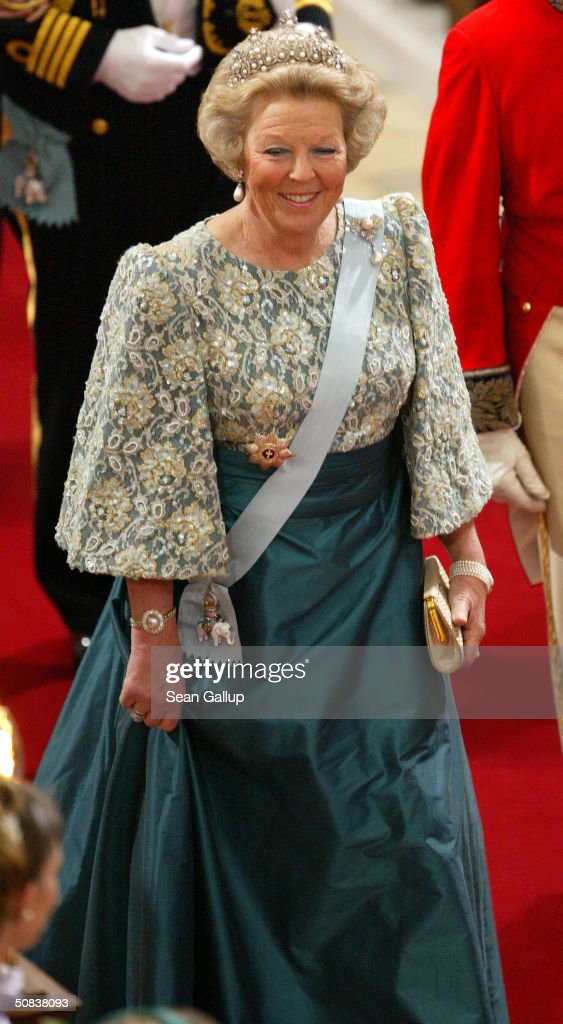 Queen <a gi-track='captionPersonalityLinkClicked' href=/galleries/search?phrase=Beatrix+of+the+Netherlands&family=editorial&specificpeople=92396 ng-click='$event.stopPropagation()'>Beatrix of the Netherlands</a> attends the wedding between Danish Crown Prince Frederik and Miss Mary Elizabeth Donaldson in Copenhagen Cathedral May 14, 2004 in Copenhagen, Denmark. The romance began in 2000 when Donaldson met the heir to one of Europe's oldest monarchies over drinks at the Sydney Olympics, where he was with the Danish sailing team.