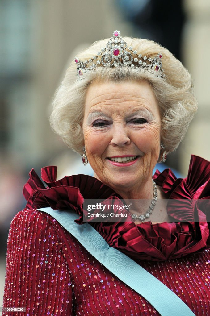 Queen Beatrix of the Netherlands attends the wedding of Crown Princess Victoria of Sweden and Daniel Westling on June 19 2010 in Stockholm Sweden