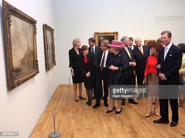 Queen Beatrix of the Netherlands Grand Duchess Maria Teresa of Luxembourg and Grand Duke Henri of Luxembourg attend the inauguration exhibition 'The...