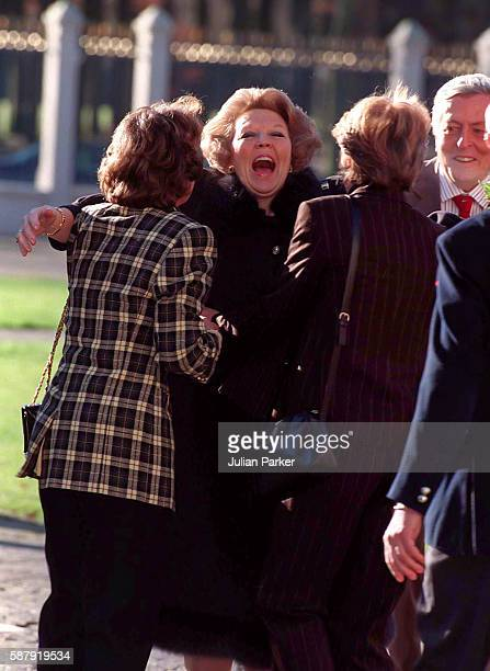 Queen Beatrix of the Netherlands greets her sisters Princess Margriet and Princess Irene on a visit to The Paleis Het Loo National Museum in...