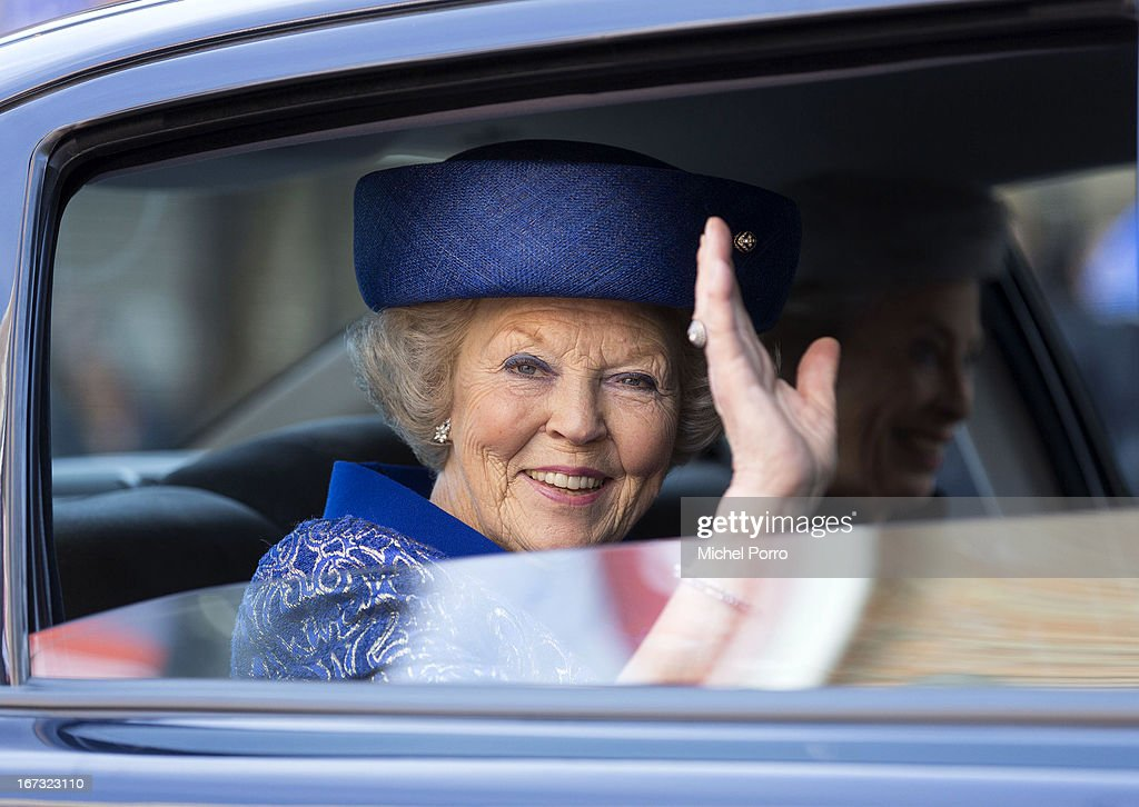Queen Beatrix of The Netherlands leaves after opening Huygens Exhibition in her last official engagement before her abdication on April 24, 2013 in The Hague, Netherlands.