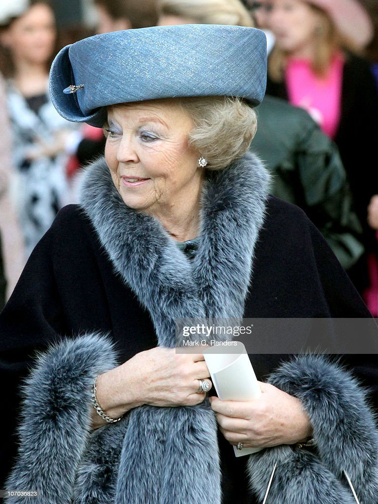 Queen Beatrix of the Netherlands leaves after the Royal Wedding of Princess Annemarie Gualtherie van Weezel and Prince Carlos de Bourbon de Parme at Abbaye de la Cambre on November 20, 2010 in Brussels, Belgium.