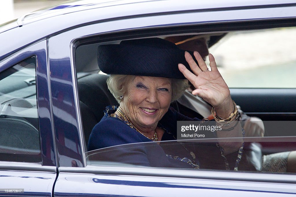 Queen <a gi-track='captionPersonalityLinkClicked' href=/galleries/search?phrase=Beatrix+of+the+Netherlands&family=editorial&specificpeople=92396 ng-click='$event.stopPropagation()'>Beatrix of the Netherlands</a> leaves after visitingThe European Space Agency on October 24, 2012 in Noordwijk aan Zee, Netherlands.
