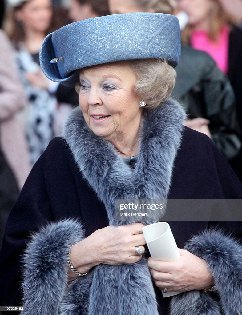 Queen Beatrix of the Netherlands leaves the marriage of Prince Carlos de Bourbon de Parme and Princess Annemarie Gualtherie van Weezel at Abbaye de la Cambre on November 20, 2010 in Brussels, Belgium.