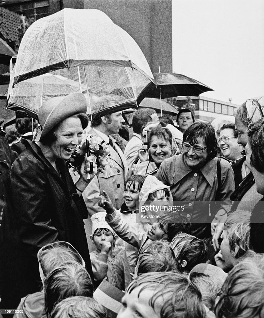 Queen Beatrix of the Netherlands meets a group of children during a walkabout in Leiden Netherlands 12th June 1981