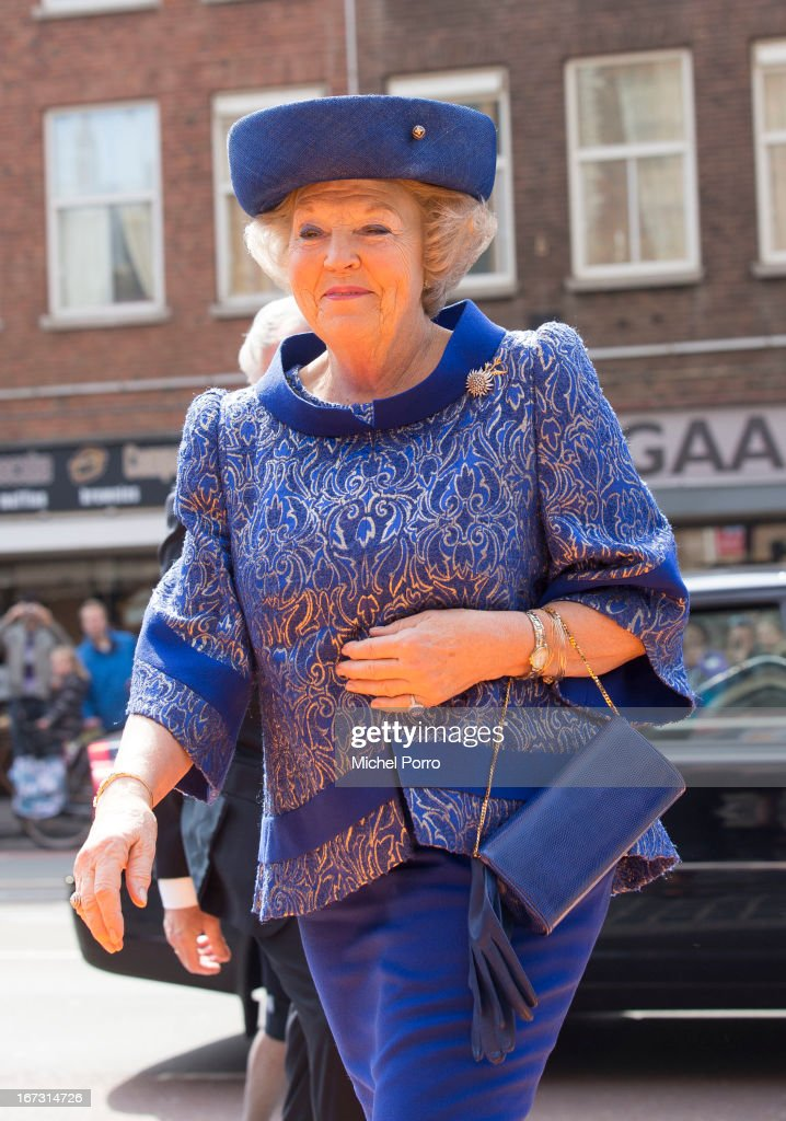 Queen Beatrix of The Netherlands opens Huygens Exhibition in her last official engagement before her abdication on April 24, 2013 in The Hague, Netherlands.