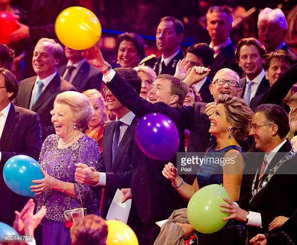 Queen Beatrix of The Netherlands Prime Minister Mark Rutte King WillemAlexander of The Netherlands and Queen Maxima of The Netherlands attend a...