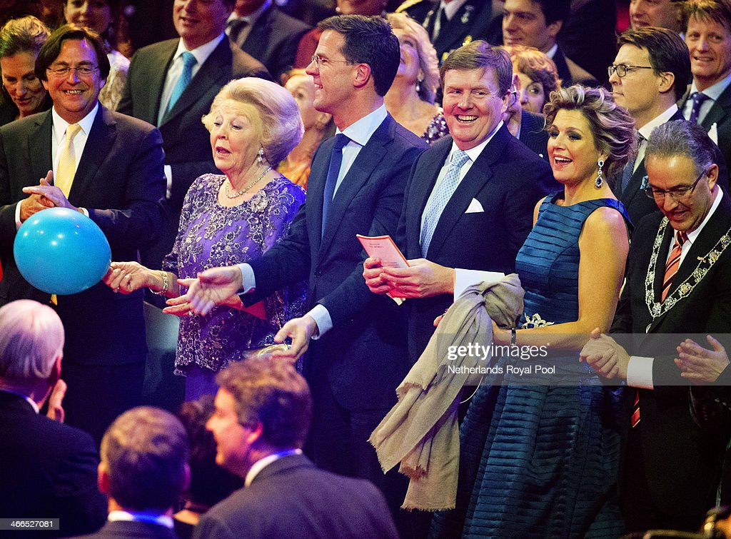 Queen Beatrix of The Netherlands, Prime Minister Mark Rutte, King Willem-Alexander of The Netherlands, Queen Maxima of The Netherlands and Rotterdam Mayor Ahmed Aboutaleb attend a celebration of the reign of Princess Beatrix on February 1, 2014 in Rotterdam, Netherlands.