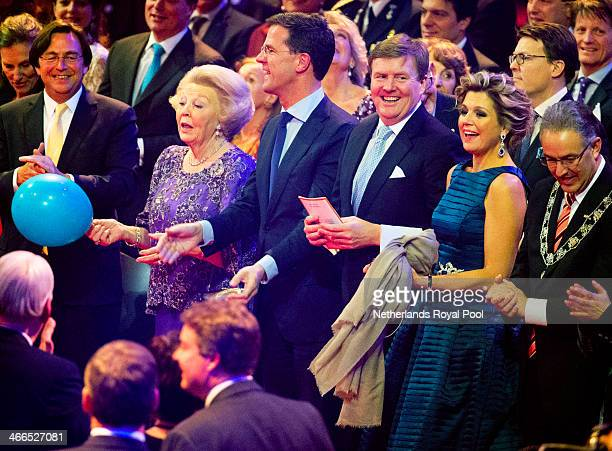 Queen Beatrix of The Netherlands Prime Minister Mark Rutte King WillemAlexander of The Netherlands Queen Maxima of The Netherlands and Rotterdam...