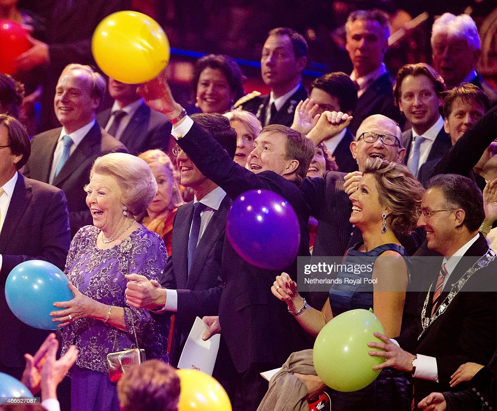 Queen Beatrix of The Netherlands, Prime Minister Mark Rutte, King Willem-Alexander of The Netherlands and Queen Maxima of The Netherlands attend a celebration of the reign of Princess Beatrix on February 1, 2014 in Rotterdam, Netherlands.