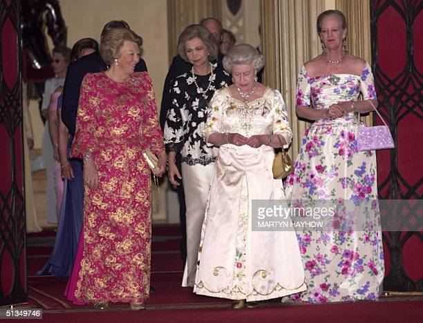 Queen Beatrix of the Netherlands Queen Sofia of Spain with Britain's Queen Elizabeth II and Queen Margrethe of Denmark making their way to dinner at...