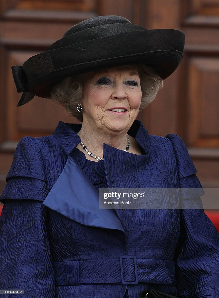 Queen <a gi-track='captionPersonalityLinkClicked' href=/galleries/search?phrase=Beatrix+of+the+Netherlands&family=editorial&specificpeople=92396 ng-click='$event.stopPropagation()'>Beatrix of the Netherlands</a> smiles upon her arrival at Bellevue Presidential Palace on April 12, 2011 in Berlin, Germany. The Dutch royals are on a four-day visit to Germany that includes stops in Berlin, Dresden and Duesseldorf.
