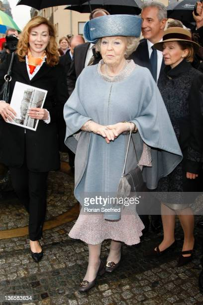 Queen Beatrix of the Netherlands tours the historic city center on April 14 2011 in Dresden Germany The Dutch royals are on a fourday visit to...