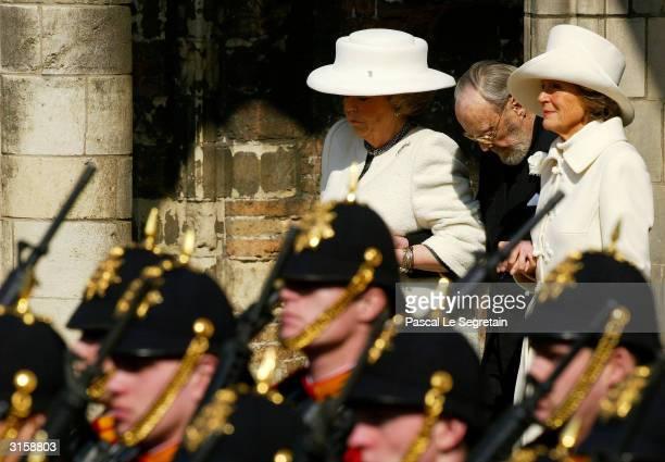 Queen Beatrix Prince Bernhard and Princess Irene of The Netherlands attend the funeral of the Dutch Queen Mother Princess Juliana at Nieuwe Kerk on...