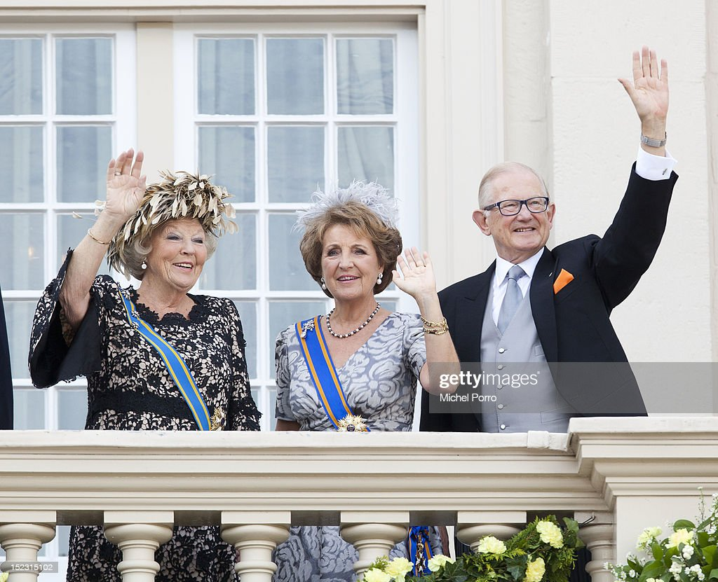 Queen Beatrix, Princess Margriet and Pieter van Vollenhove of The Netherlands wave from the Noordeinde Palace balcony after attending Budget Day announcement on September 18, 2012 in The Hague, Netherlands.