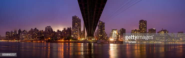 Queen Bridge, New York skyline : Stock Photo