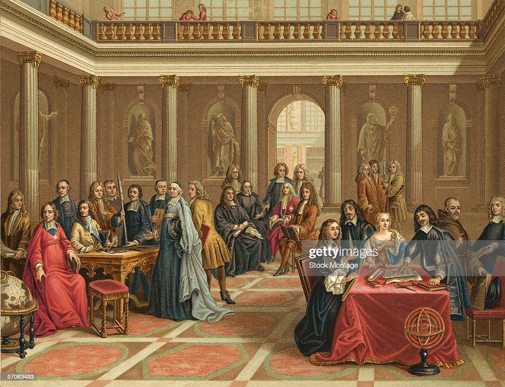 Queen Christina of Sweden (1626 -1689) (seated at right) watches a demonstration by French philosopher and mathematician Rene Descartes (1596 - 1650) (standing at right), 1600s.