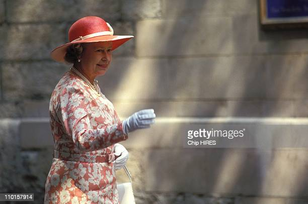 Queen Elisabeth at The wedding of SArmstrongJones and DChatto in United Kingdom on July 14 1994