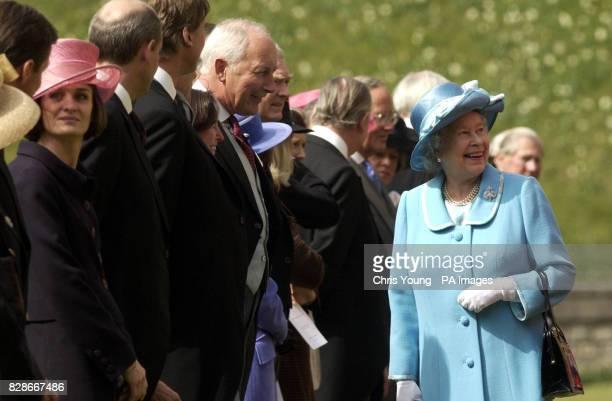 Queen Elizabath II shares a joke with Lt Col Lesinski Grenadier Guards regarding a swarm of bees on the lawn of Windsor Castle Queen Elizabeth The...