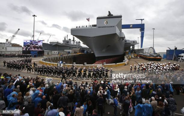 HMS Queen Elizabeth after Queen Elizabeth II officially named the Royal Navy's new aircraft carrier during a visit to Rosyth dockyard in Scotland