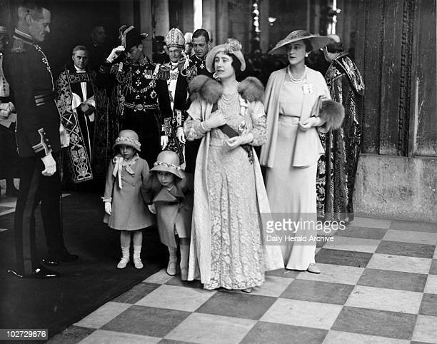 Queen Elizabeth and princesses leaving St Paul's Cathedral 6 May 1935 Jubilee celebrations at St Paul's Cathedral showing the Duke and Duchess of...