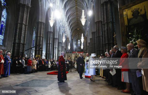 Queen Elizabeth and the Duke of Edinburgh greet couples who share their 60th anniversary after the service of celebration to mark the diamond wedding...