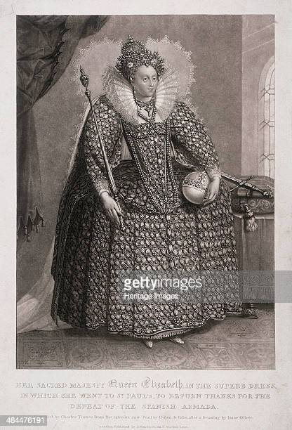 Queen Elizabeth I holding sceptre and orb 1868 Queen Elizabeth I with the symbols of her power wearing the dress in which she went to St Paul's...