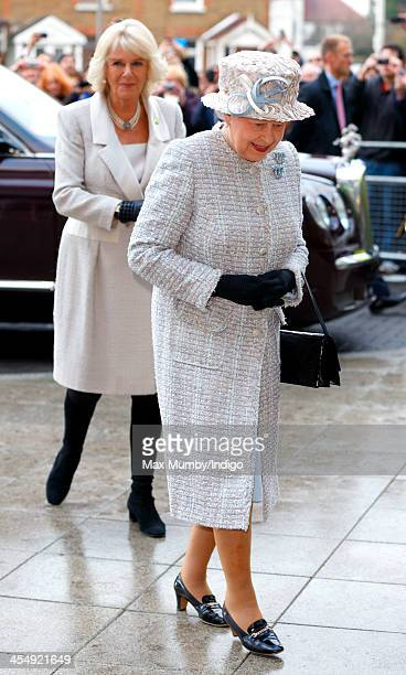 Queen Elizabeth II accompanied by Camilla Duchess of Cornwall arrives to visit and officially open the new headquarters of Barnardo's Barkingside on...