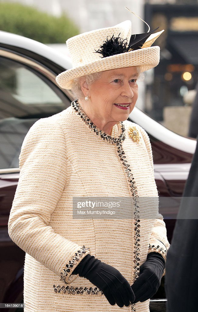Queen Elizabeth II accompanied by Prince Philip, Duke of Edinburgh and Catherine, Duchess of Cambridge visits Baker Street Underground Station to mark the 150th anniversary of the London Underground on March 20, 2013 in London, England.