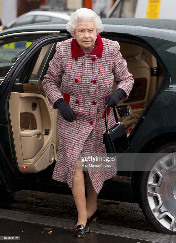 Queen Elizabeth II, accompanied by Prince Philip, Duke of Edinburgh, arrives at King's Cross Railway Station to take the train to King's Lynn on route to her Norfolk Estate, Sandringham House, for her traditional Christmas Break on December 20, 2012 in London, England.