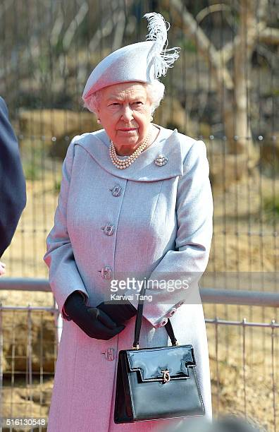 Queen Elizabeth II accompanied by Prince Philip Duke of Edinburgh officially opens the Land of the Lions enclosure at London Zoo on March 17 2016 in...