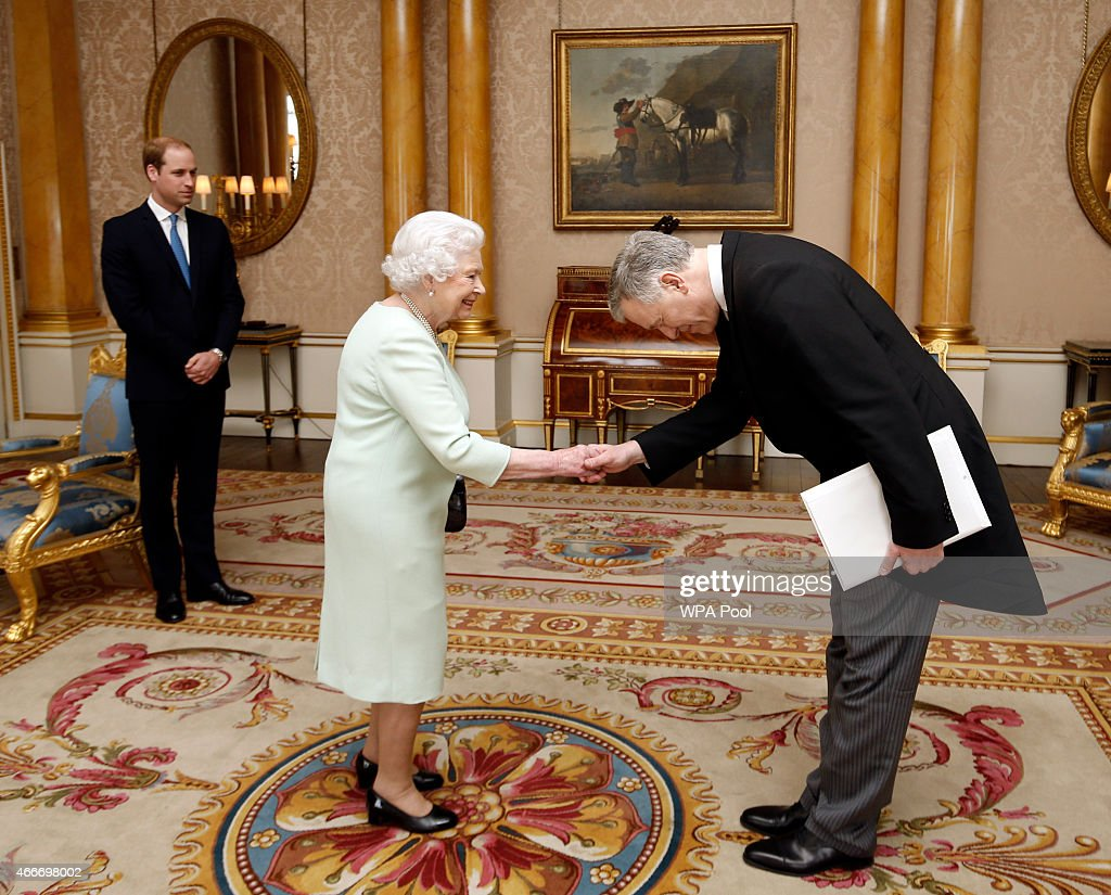 Queen Elizabeth II, accompanied by Prince William, Duke of Cambridge receives the Ambassador of Austria His Excellency Dr Martin Eichtinger during a private audience at Buckingham Palace on March 18, 2015 in London, England. It is the first time William has accompanied his grandmother at the regular royal duty and serves as part of his training as the future king.