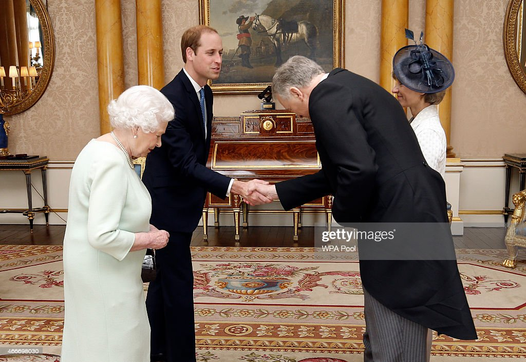 Queen Elizabeth II, accompanied by Prince William, Duke of Cambridge, receives the Ambassador of Austria His Excellency Dr Martin Eichtinger and his wife Mrs Elchtinger as he presents his credentials during a private audience at Buckingham Palace on March 18, 2015 in London, England. It is the first time William has accompanied his grandmother at the regular royal duty and serves as part of his training as the future king.