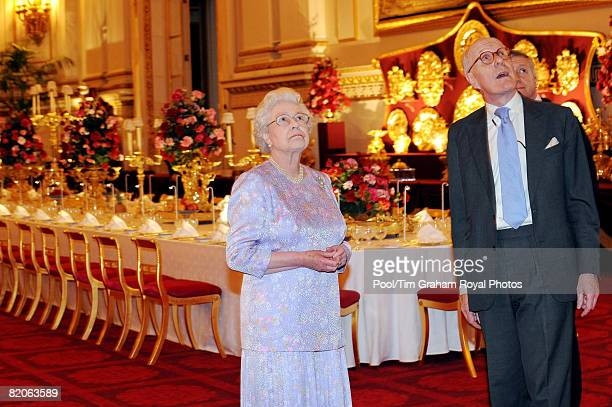 Queen Elizabeth II accompanied by Sir Hugh Roberts the Director of the Royal Collection views the Summer Opening exhibition at Buckingham Palace...