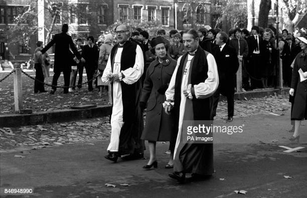 Queen Elizabeth II accompanied by the Archbishop of Canterbury Dr Robert Runcie left and the Archbishop of York Dr Stuart Blanch leaving Westminster...
