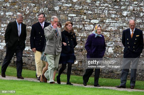 Queen Elizabeth II accompanied by the Duke of Edinburgh the Duke of York the Prince of Wales Princess Beatrice during a visit to the visitors centre...