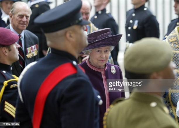 Queen Elizabeth II accompanied by the Duke of Edinburgh unveiled a memorial plaque in Westminster Abbey for The Dedication of The Victoria Cross and...
