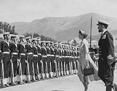 Queen Elizabeth II accompanied by the Guard Commander inspecting a Guard of Honour at Prince's Wharf Hobart during the Commonwealth tour of Tasmania...