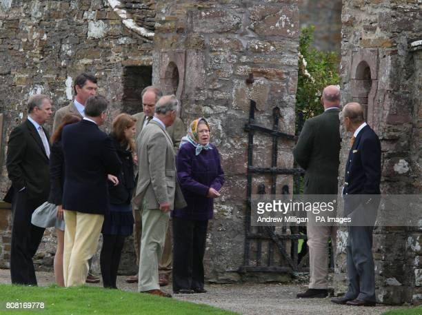 Queen Elizabeth II accompanied by the Prince of Wales Duke of Edinburgh Princess Eugenie and Princess Beatrice the Duke of York the Princess Royal's...