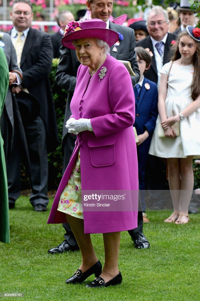 Queen Elizabeth II ahead of the presentation of the Diamond Jubilee Stakes Cup after The Tin Man wins, ridden by Tom Queally on day 5 of Royal Ascot 2017 at Ascot Racecourse on June 24, 2017 in Ascot, England.