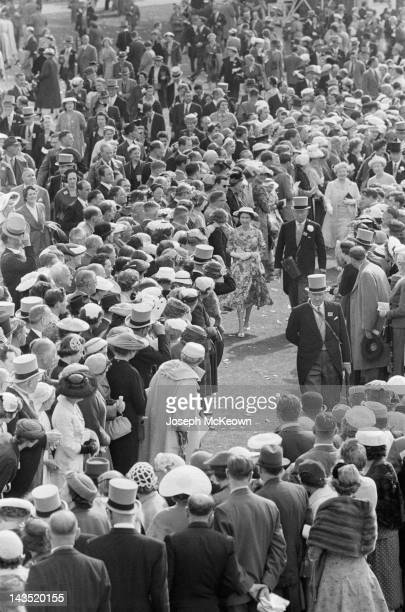 Queen Elizabeth II amongst the crowds in the paddock at Ascot 20th June 1956 Original Publication Picture Post 8531 The Queen's Crowded Week Horses...