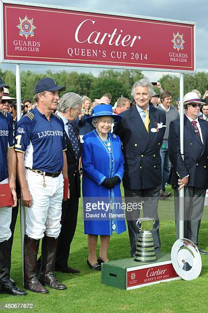Queen Elizabeth II and Anaud Bamberger attends the Cartier Queen's Cup Final at Guards Polo Club on June 15 2014 in Egham England