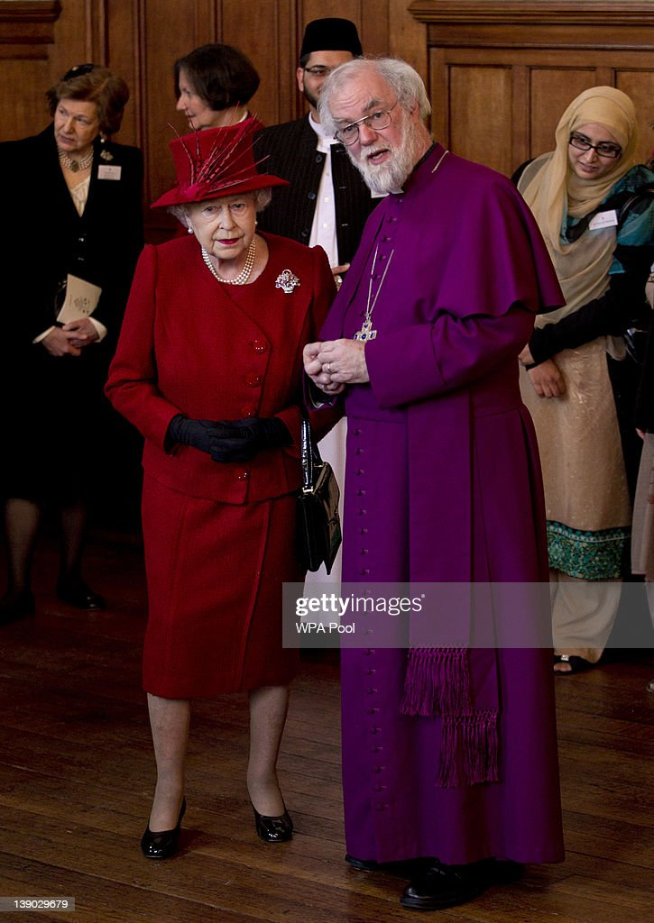 Queen Elizabeth II and Archbishop of Canterbury <a gi-track='captionPersonalityLinkClicked' href=/galleries/search?phrase=Rowan+Williams&family=editorial&specificpeople=239468 ng-click='$event.stopPropagation()'>Rowan Williams</a> chat during a multi-faith reception at Lambeth Palace on February 15, 2012 in London, England. The event features leaders from the Christian, the Baha'i, the Buddhist, Hindu, Jain, Jewish, Muslim, Sikh, and Zoroastrian communities.