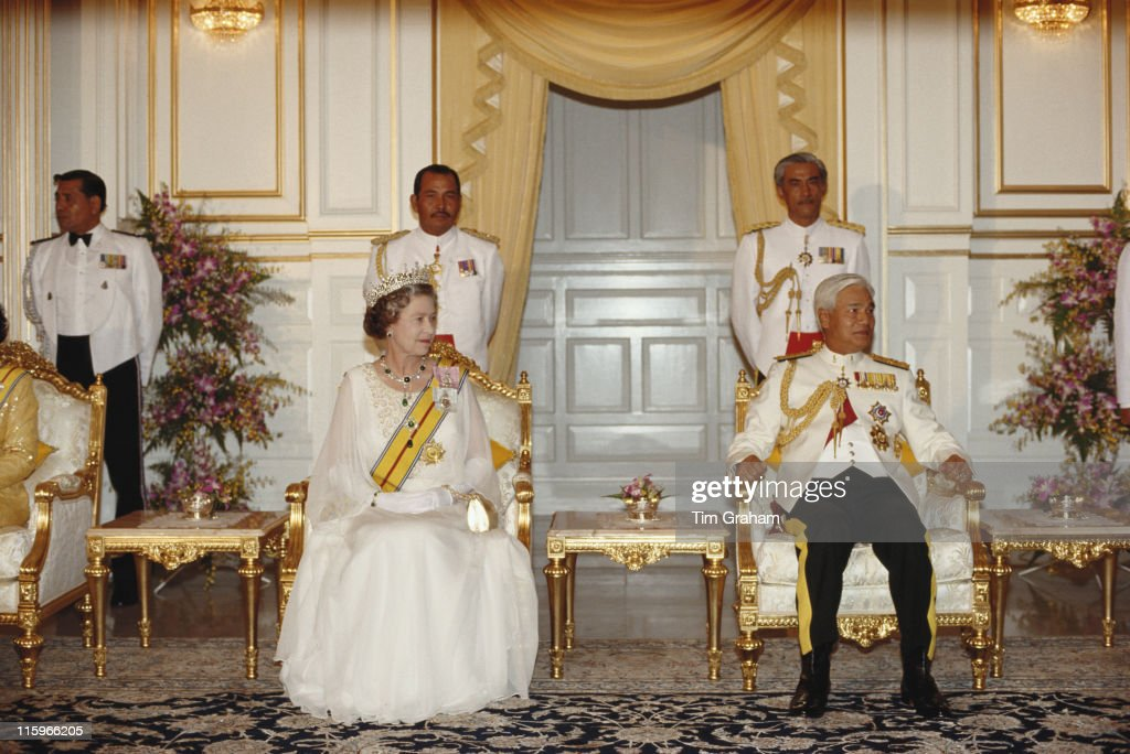Queen Elizabeth II and Azlan Shah of Perak attending a state banquet held in the Queen's honour in Kuala Lumpur Malaysia 14 October 1989