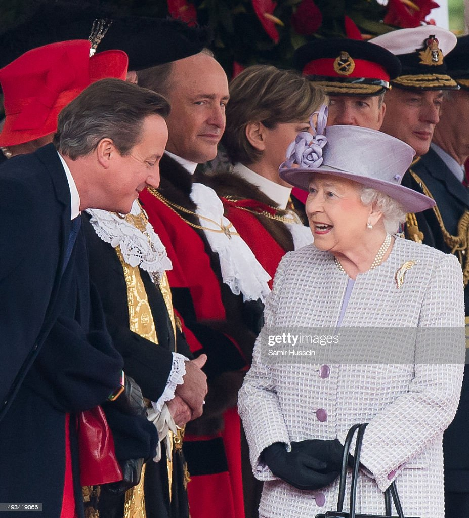 Queen Elizabeth II and British Prime Minister David Cameron attend the Official Ceremonial Welcome for the Chinese State Visit on Horseguards Parade on October 20, 2015 in London, England.
